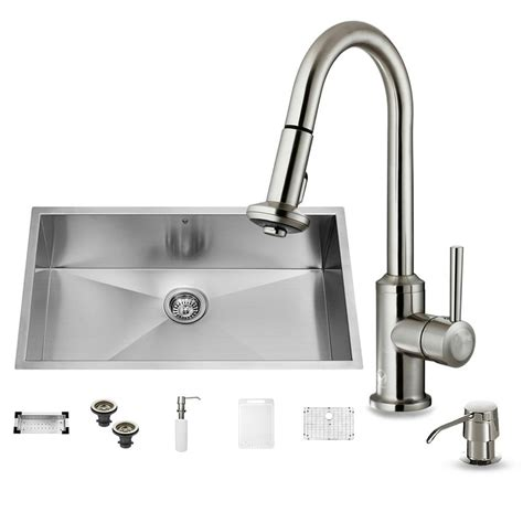 undermount kitchen sink with faucet holes vigo all in one undermount stainless steel 32 in 0 hole single basin kitchen sink in stainless