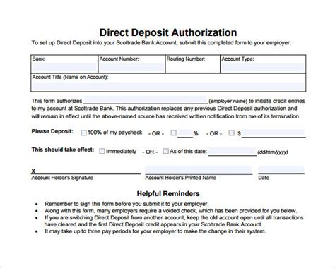authorization letter to deposit word format sle direct deposit authorization form 7