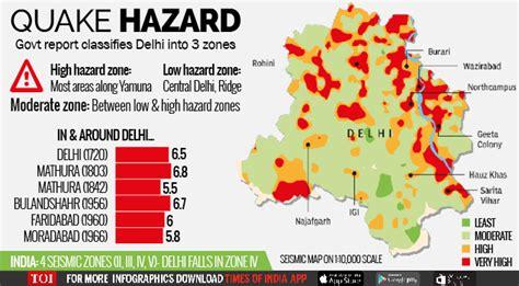 earthquake zone of delhi seismic map shows east delhi at maximum risk delhi news