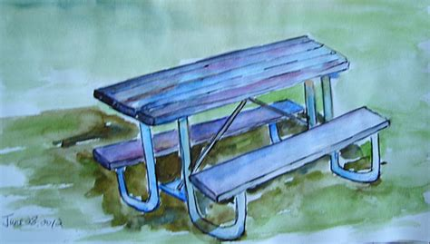 how to draw a picnic table table and chairs