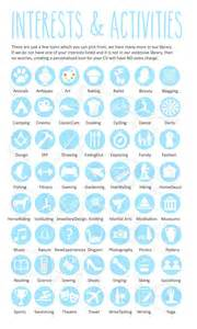 interest activity icons for infographic cv resume by