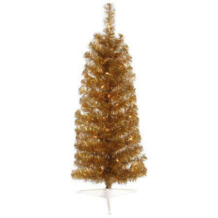 walnart 4 ft pre lit rose tinsel christmas tree 4 5 pre lit antique gold artificial pencil tinsel tree clear lights walmart