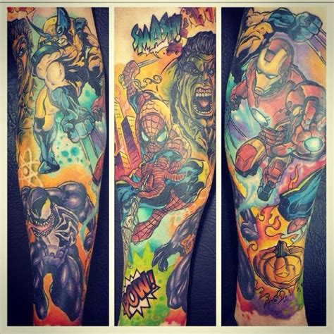 marvel leg sleeve inked magazine tatouages pinterest