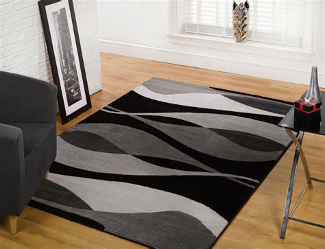 Times Square Wall Mural modern cool black grey waves design area rug home