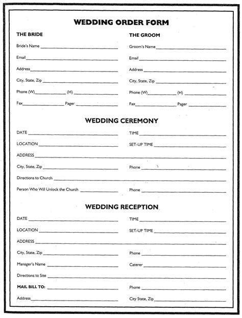 floral order form template wedding flower planner wedding order form wedding