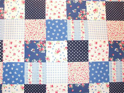 Patchwork Prints - patchwork print 100 cotton fabric in blue