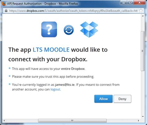 dropbox not connecting gavin henrick using dropbox repository with moodle