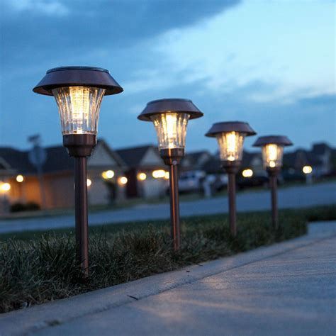 Solar Landscaping Lights Outdoor Lights Solar Solar Landscape Warm White Copper Finished Shaded Solar Path Lights Set Of 4