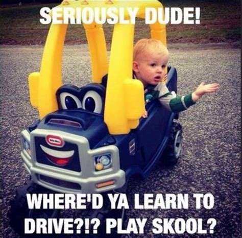 Funny Memes About Driving - kid drivers learn to drive toy cars from play school