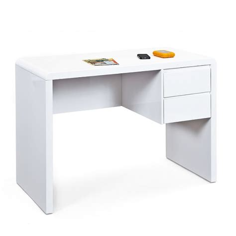 white gloss computer desk with drawers balmoral computer desk in white high gloss with 2 drawers