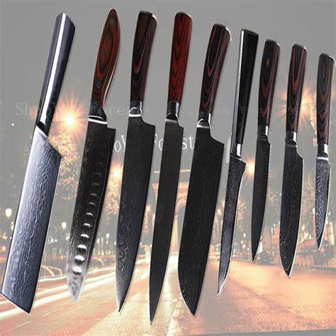 damascus kitchen knives 9 pcs sets 3 quot 4 quot 5 quot 6 quot 7 quot 8