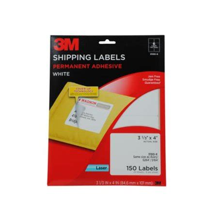 3m Permanent Adhesive Shipping Labels 3 33 X 4 Inches Laser White 150 Per Pack 3100 X 3m Label Template