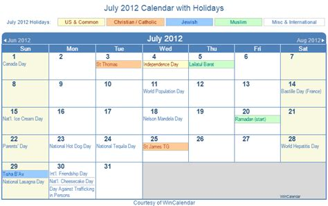 2012 Calendar With Holidays Print Friendly July 2012 Us Calendar For Printing