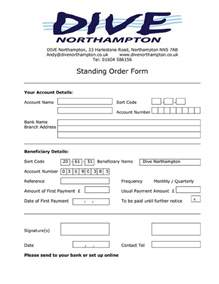 Standing Order Form Template by Dive Northton Club Trips Events Dive Northton