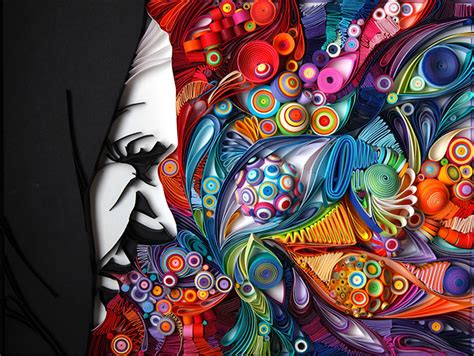yulia brodskaya mesmerizing paper art made from strips of colored paper by