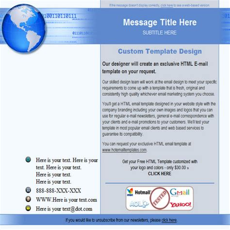 global ad free html e mail templates