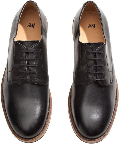 shoes h m h m mens leather shoes in black for lyst