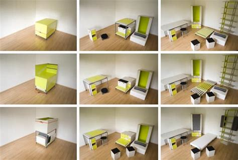 room in a box transforming fold out furniture design