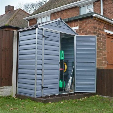 palram skylight plastic anthracite apex shed 6x3 garden