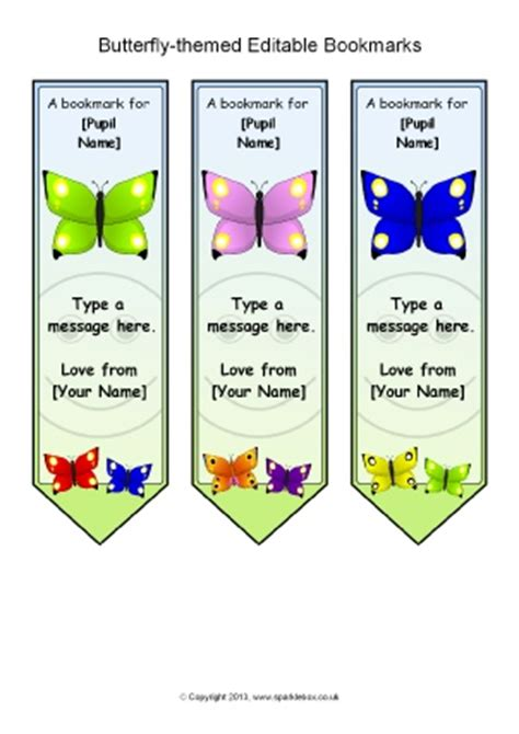 printable butterfly bookmarks butterfly themed classroom printables sparklebox