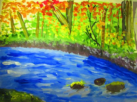 acrylic painting river how to draw and paint forest with river acrylic painting