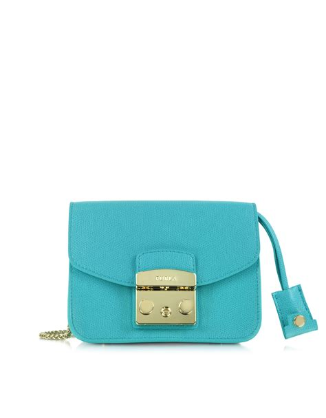 furla metropolis mini leather crossbody in blue lyst