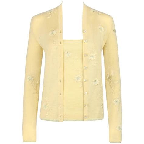 Set 2in1 Cardigan Yellow Floral givenchy couture s s 1998 mcqueen pale yellow