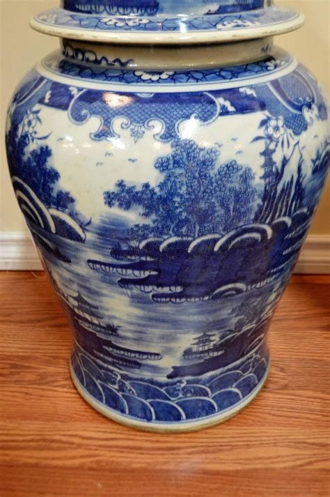 what are ginger jars pair of chinese large blue and white porcelain ginger jars