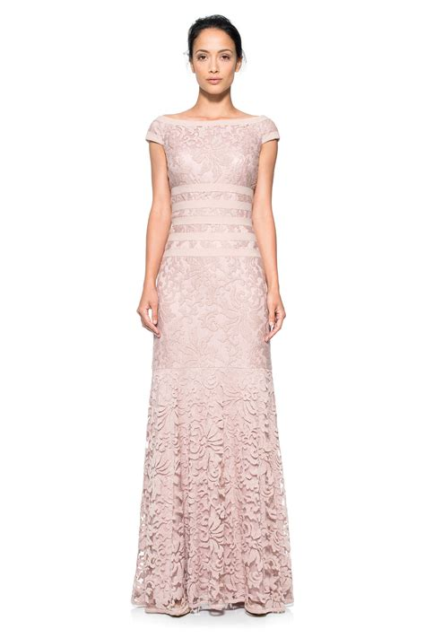 nordstrom boat neck dress embroidered lace boatneck cap sleeve gown tadashi shoji