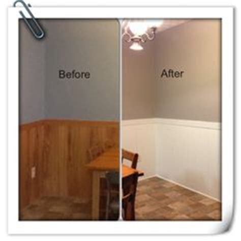 before and after old wall paneling primed and painted diy home repair hack easily paint over wood paneling woods