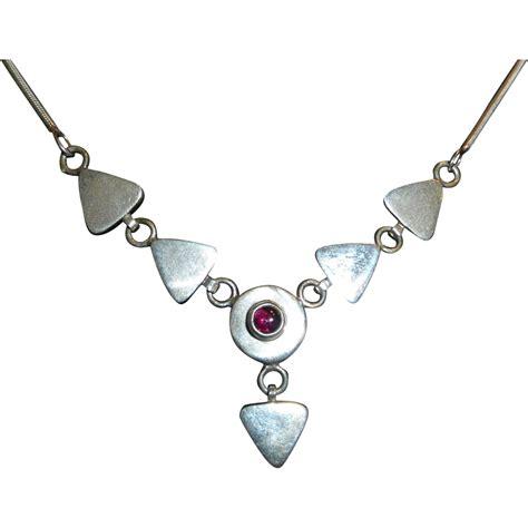 Garnet Necklace Sterling Silver vintage sterling silver garnet pendant necklace from