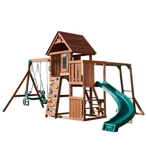 swing n slide swing n slide playsets cedar brook wood complete playset