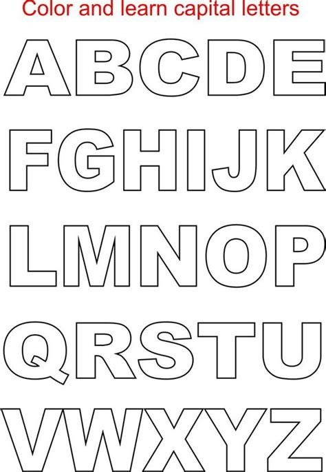 alphabet template capital letters coloring printable page for