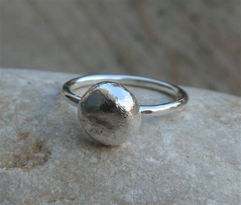 recycled sterling silver ring silver pebble ring by