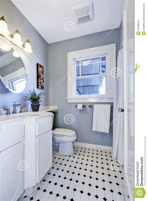 Bright Bathroom Interior In Light Blue Color Stock Photo Kitchen And Bath Designer