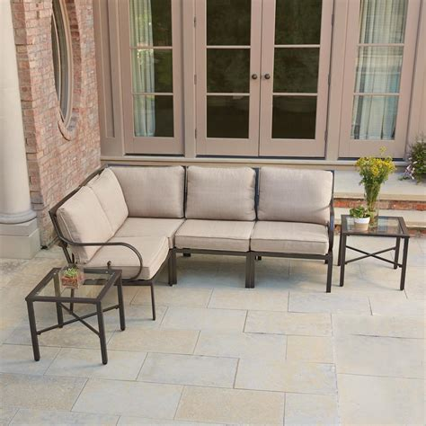 Outdoor Metal Patio Furniture Hton Bay Granbury 6 Metal Outdoor Sectional With Fossil Cushions Shop Your Way