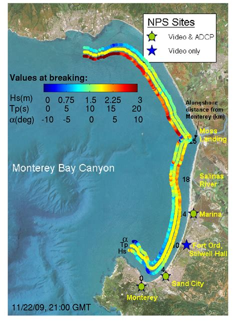 california map monterey bay cencoos wave and current data for monterey bay ca