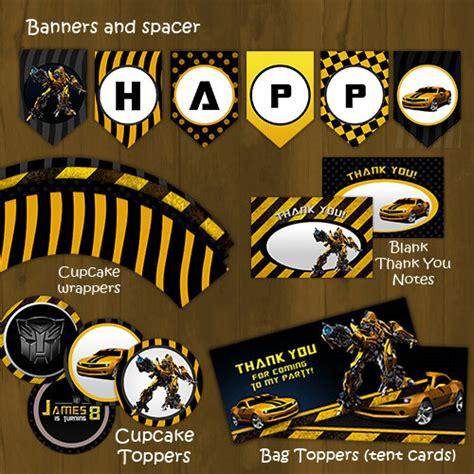 printable transformers birthday banner bumblebee transformers printable birthday party package