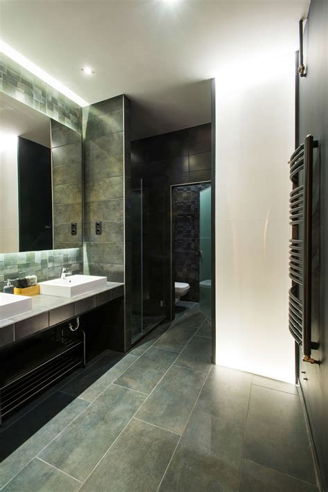 blue slate tile bathroom modern loft with surprising elements