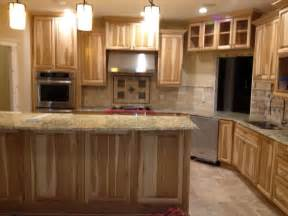 Countertops And Cabinets Kitchen With Hickory Cabinets And Travertine Backsplash