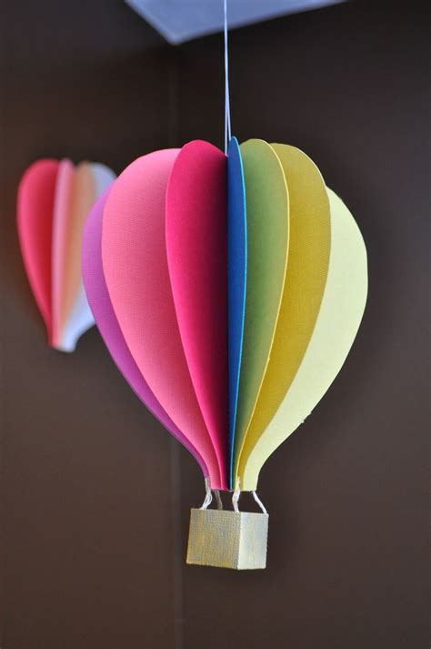 Colour Paper Craft - papercraft air balloon mobile tutorial papercraft