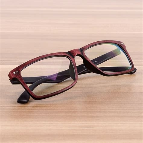 Square Lens Glasses square eyeglasses frames clear lens optical frame wooden