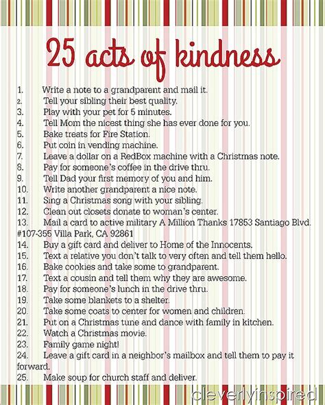 Easy Home Decorating Ideas On A Budget 25 Acts Of Kindness Advent Printable Cleverly Inspired