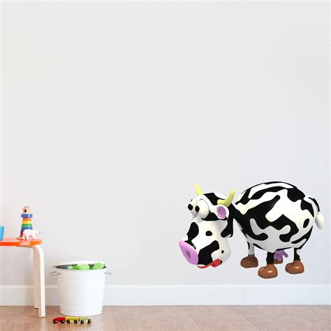 cow wall stickers 3d cow printed wall decal