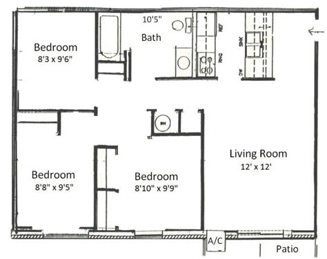3 bed room floor plan basham rentals 225 s river rd3 bedroom floor plans