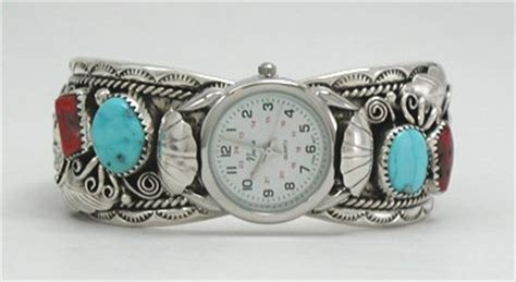 Handmade American Watches - clifford bahe navajo sterling silver turquoise and coral