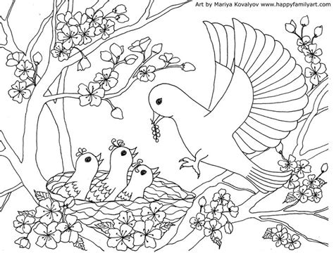 mother bird baby birds coloring page