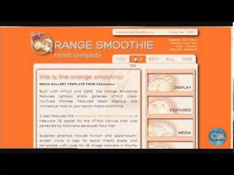 Smoothie Website Template The Orange Smoothie Html5 Media Gallery Website Template Youtube