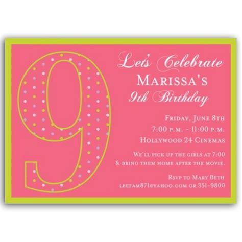 9th Birthday Girl Dots Invitations Paperstyle 9th Birthday Invitation Templates