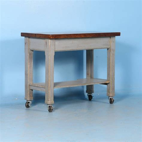 great kitchen island work table at 1stdibs antique original grey painted kitchen island on casters